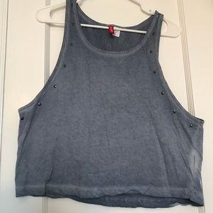 H&M Blue Studded Muscle Tee
